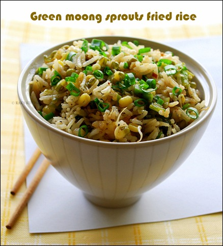 Whole green gram sprouts fried rice